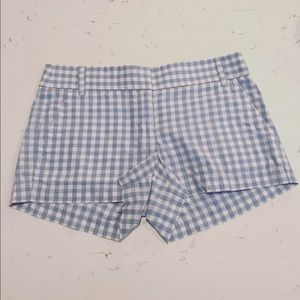J.Crew gingham blue and white shorts